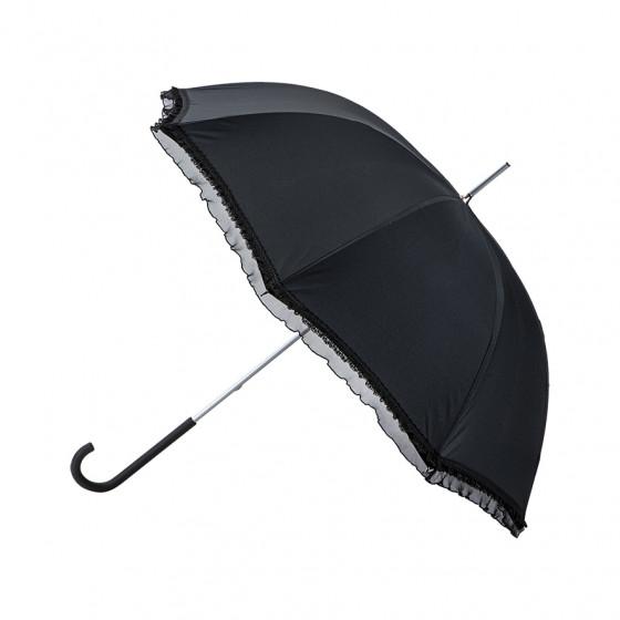 Parapluie ombrelle avec galon froufrou noir